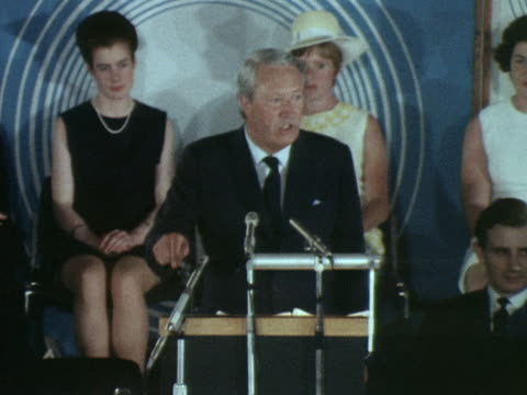 edward heath states that the housewives of britain will be voting conservative in the general election during a campaign speech in croydon - edward heath stock-videos und b-roll-filmmaterial