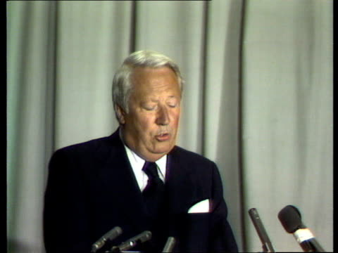 edward heath visit to sheffield; england: sheffield: heath onto platform clapping audience cms heath speaking sof: 'when this general election... - sheffield stock videos & royalty-free footage