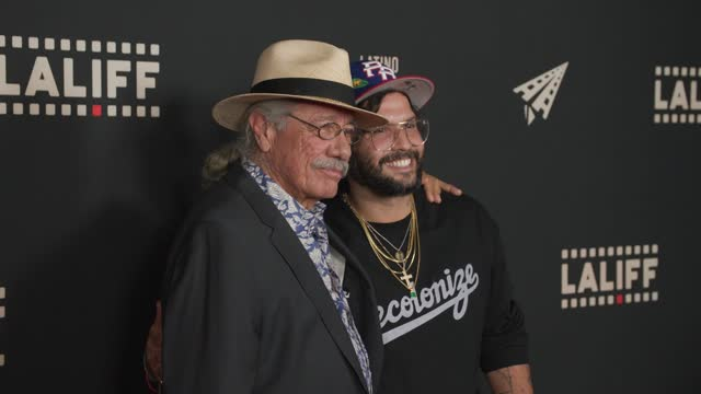 """edward james olmos and angel manuel soto at the laliff closing night """"women is losers,"""" red carpet capture produced by cindy maram, dig in... - tcl chinese theatre stock videos & royalty-free footage"""