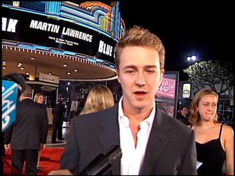 Edward Norton at the 'Fight Club' Premiere at the Mann Village Theatre in Westwood California on October 6 1999