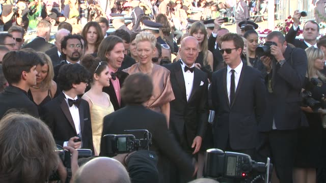 edward norton bruce willis tilda swinton wes anderson kara hayward and jared gilma at opening film moonrise kingdom premiere 65th cannes film... - bruce willis stock-videos und b-roll-filmmaterial