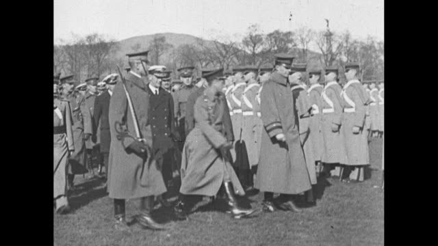 edward prince of wales reviews cadets at the united states military academy at west point ny with superintendent douglas macarthur / side view prince... - プリンス点の映像素材/bロール