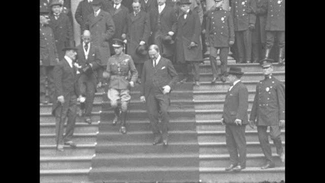 edward, prince of wales, walks down steps of city hall in new york city with mayor john francis hylan and new york politician grover whalen; prince... - prince stock videos & royalty-free footage