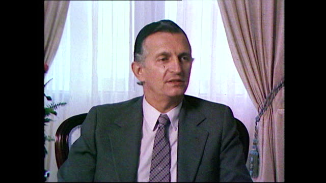 """edward seaga, fifth prime minister of jamaica, on being asked to read the eulogy at bob marley's funeral; 1981. """"the prime minister's reading the... - ボブ・マーリー点の映像素材/bロール"""