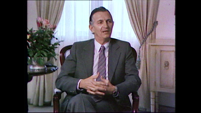 """edward seaga, fifth prime minister of jamaica, speaking about bob marley after his death and how he helped promote jamaican music; 1981. """"we were... - ボブ・マーリー点の映像素材/bロール"""