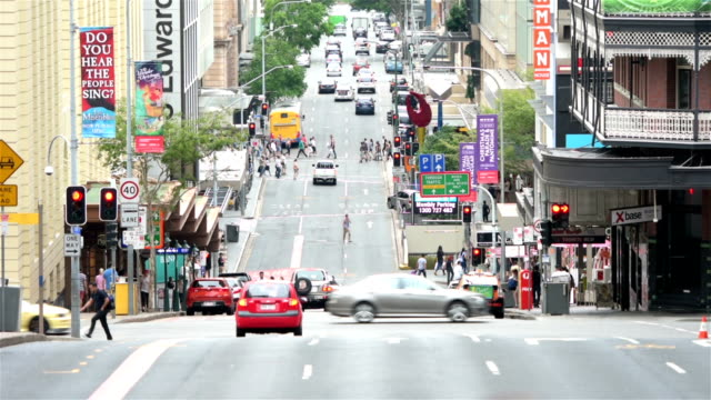 edward street in brisbane - pedestrian stock videos & royalty-free footage