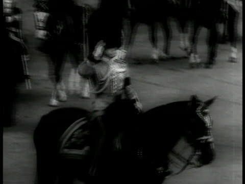edward viii on horse, saluting uniformed guards at buckingham palace. possibly 'trooping the color' sovereign birthday parade. guards marching. int... - エドワード8世点の映像素材/bロール