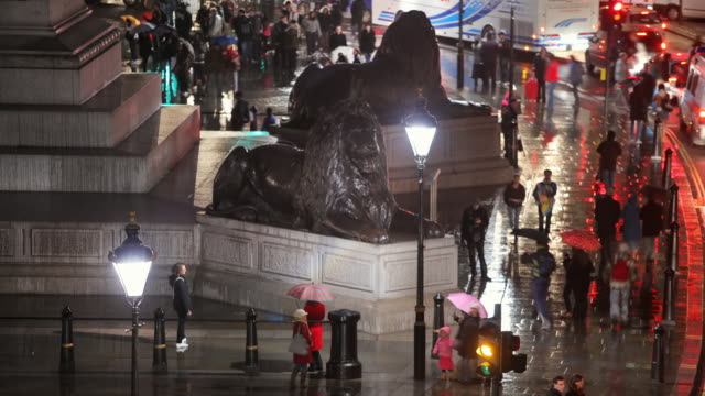 T/L MS HA Edwin Landseer's Lions guarding Nelson's Column and people walking on Trafalgar Square at rainy night / London, England