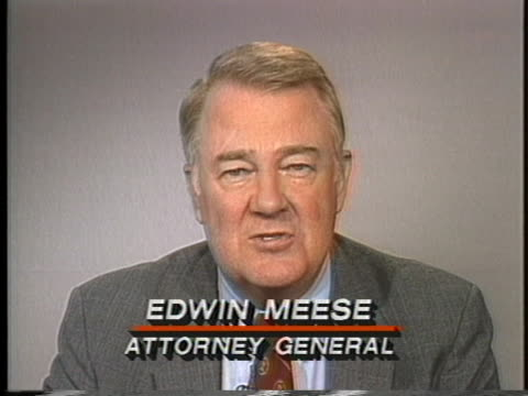 vídeos y material grabado en eventos de stock de edwin meese says the most important thing that will come from the iran-contra hearing is to prevent the similar event from reoccurring. - fraude
