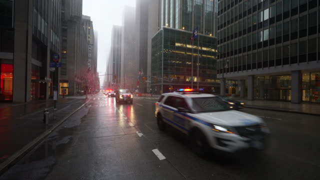 covid-19 effect to new york. people and traffic disappeared from midtown manhattan 6th avenue for impact of covid-19 in the rainy early morning new york city ny usa on mar. 29 2020. - avenue stock videos & royalty-free footage