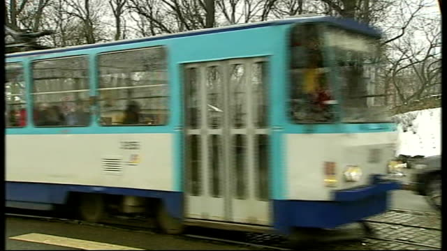 effects of recession on eastern european countries people along snowcovered paths in city centre park shoppers along street tram along through city... - 見渡す点の映像素材/bロール
