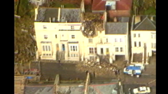vidéos et rushes de effects on the landscape and weather forecasting of the 1987 storms; 16th october 1987 england: ext air view / aerial trees blown over by hurricane... - effet visuel