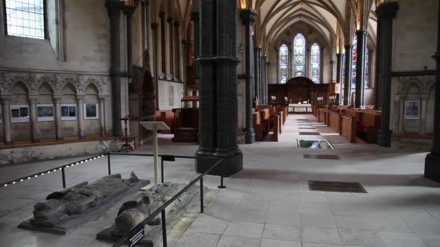 effigies of crusader knights, temple church, london - effigy stock videos & royalty-free footage