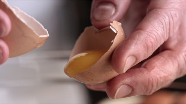 egg yolk being seperated from egg white flourless chocolate cake recipe - egg yolk stock videos and b-roll footage