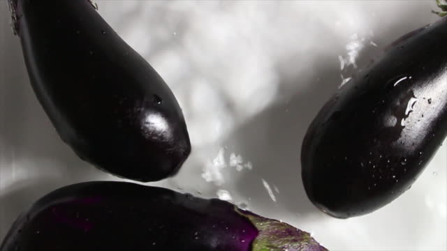 eggplant falling into the water - aubergine stock videos & royalty-free footage