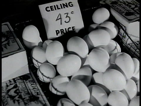 eggs in basket w/ sign 'ceiling price 43 cents' campbell's tomato soup cans w/ sign 'ceiling price 10 cents' roast w/ sign 'ceiling price 49 cents... - basket stock videos and b-roll footage