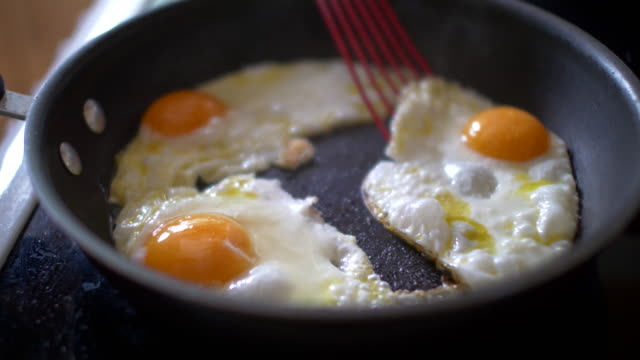 eggs in Frying Pan Close up