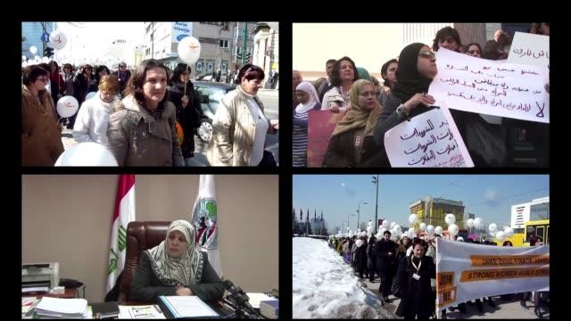vídeos de stock, filmes e b-roll de egipto irak bosnia gran bretana italia en muchos paises del mundo un reclamo o un reconocimiento hacia la mujer en su dia cairo egypt - irak