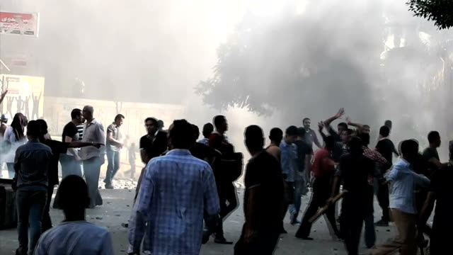 egypt alexandria muslim brotherhood protest clashes wrap on august 17 2013 in alexandria egypt - 宗教点の映像素材/bロール