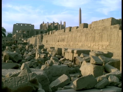 egypt, karnak temple - temple ruins, obelisk in background - luxor thebes stock videos and b-roll footage