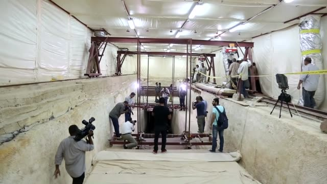 Egyptian Antiquities Minister Khaled ElAnani attends Egyptian archeologists and Waseda Universtiy's archeologists' researches on ruins of 2nd...
