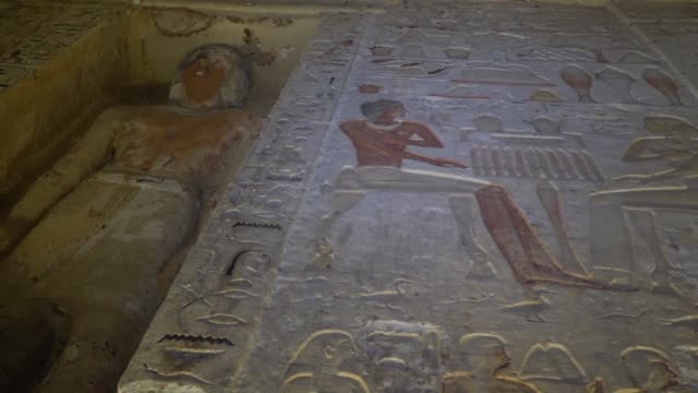 egyptian archaeologists and egyptian authorities unveil a newly discovered tomb of a priest dating back more than 4400 years in the pyramid complex... - saqqara stock videos and b-roll footage