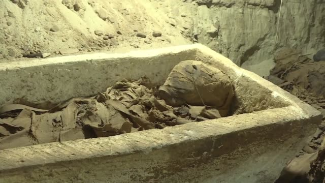egyptian archaeologists have discovered 17 mummies in desert catacombs in minya province an unprecedented find for the area south of cairo the... - antiquities stock videos & royalty-free footage