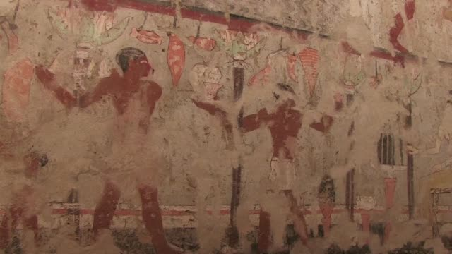 egyptian archaeologists on saturday unveiled the tomb of an old kingdom priestess adorned with well preserved and rare wall paintings - archaeologist stock videos & royalty-free footage