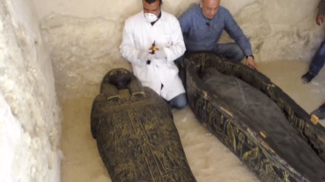 egyptian archaeologists unveil newly discovered ancient tomb sarcophagi and funerary artifacts discovered at the alassassif necropolis in the egypt's... - hd format stock-videos und b-roll-filmmaterial