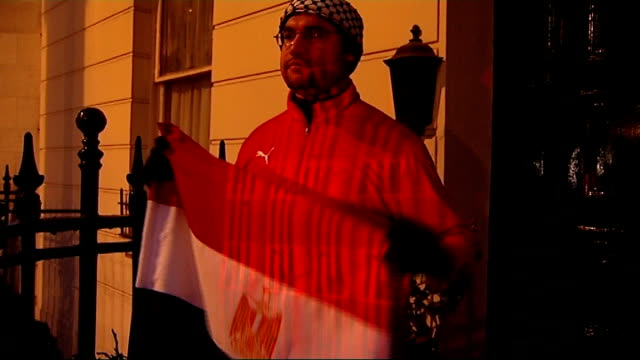 egyptian campaigners in london stage protest outside residence where egyptian president's son believed to be staying england london knightsbridge... - president of egypt stock videos & royalty-free footage