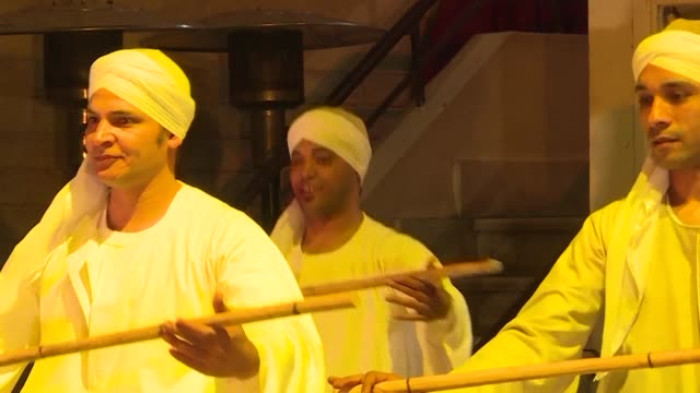 egyptian dancers performed a traditional tahtib or stick dance show in cairo thursday - thursday stock videos & royalty-free footage
