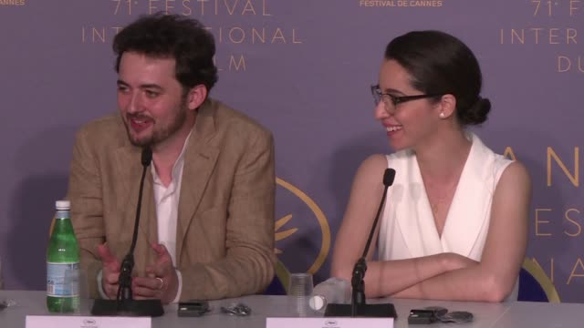 egyptian director abu bakr shawky presents his new film yomeddine at the cannes film festival alongside his wife and producer dina emam - 71st international cannes film festival stock videos & royalty-free footage