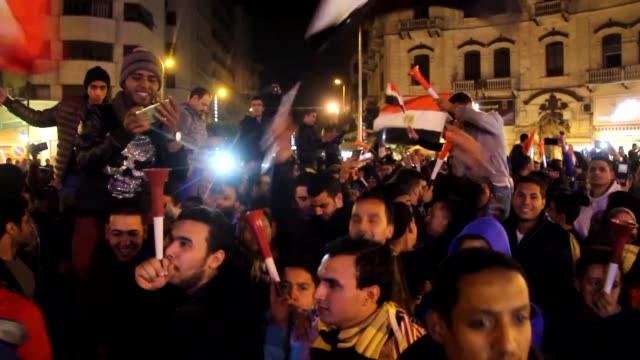 egyptian fans celebrate a the end of the quarter-final football game between egypt and morocco during the 2017 africa cup of nations in cairo, egypt... - quarterfinal round stock videos & royalty-free footage