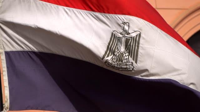 ägyptische fähnchen im wind mit garten in langsamen - pfosten stock-videos und b-roll-filmmaterial