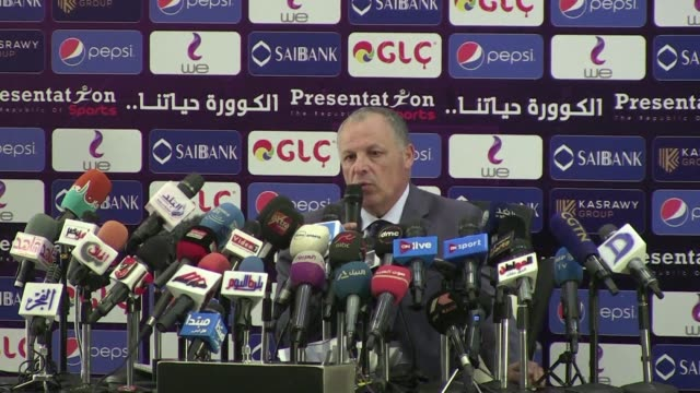 egyptian football association chief hany abu rida gives a press conference in cairo after the team was knocked out of the world cup in russia - football association stock videos & royalty-free footage