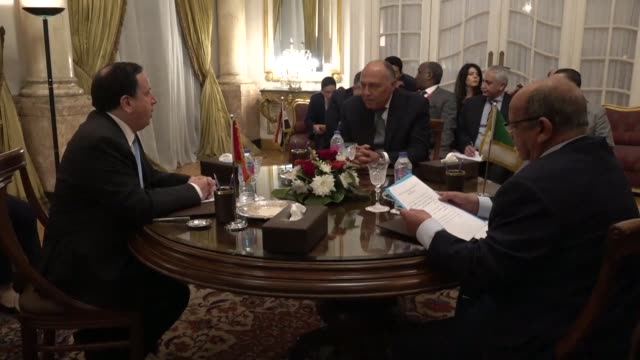 egyptian foreign minister sameh shoukry with his counterparts tunisian khemaies jhinaou and algerian algerian abdelkader messahel to discuss the... - foreign minister stock videos and b-roll footage