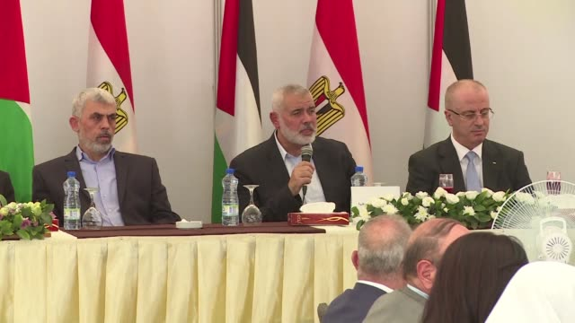 egyptian intelligence head khaled fawzy met with hamas and palestinian authority leaders in the gaza strip on tuesday - hamas stock videos & royalty-free footage