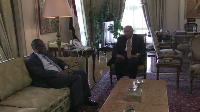 Egyptian minister of Foreign Affairs Sameh Shukri meets with his Sudanese counterpart Dardari Mohammed Ahmed in Cairo on the sidelines of a joint...
