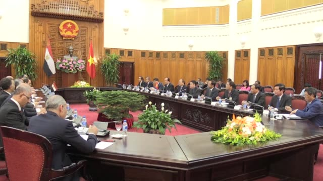 Egyptian President Abdel Fattah al Sisi meets with Vietnamese Prime Minister Nguyen Xuan Phuc on the final day of his two day visit to the Southeast...