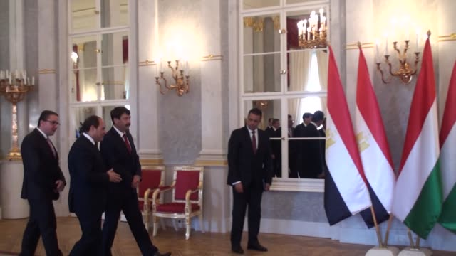egyptian president abdel fattah alsisi holds a interdelegation meeting with his hungarian counterpart janos ader at the presidential palace in... - president of egypt stock videos & royalty-free footage