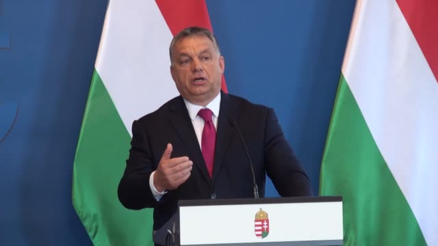 egyptian president abdel fattah alsisi holds a joint press conference with hungarian prime minister viktor orban following their meeting in budapest... - osteuropäische kultur stock-videos und b-roll-filmmaterial