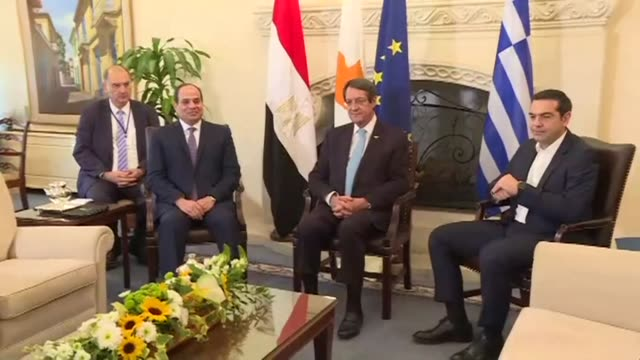 Egyptian President Abdel Fattah alSisi met with Greek Prime Minister Alexis Tsipras and Cypriot president Nicos Anastasiades in Nicosia on Tuesday