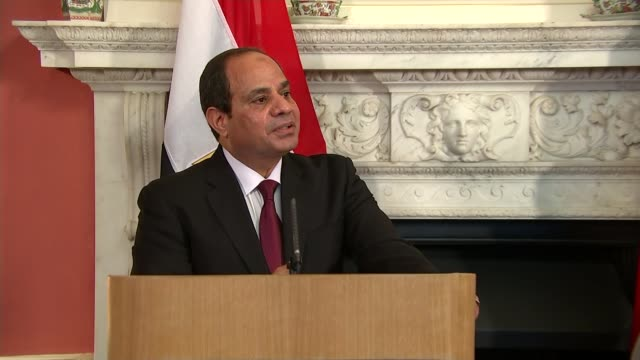 egyptian president abdel fattah elsisi meets david cameron at downing street downing street david cameron mp and abdel fatah alsisi along downing... - president of egypt stock videos & royalty-free footage