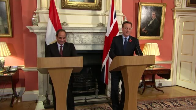 egyptian president abdel fattah elsisi meets david cameron at downing street england london downing street ext abdel fattah elsisi shaking hands with... - president of egypt stock videos & royalty-free footage