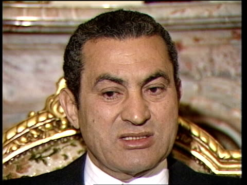 egyptian president hosni mubarak interview on problems in middle east cairo intvw sof it's not real the palestinian uruba problem video ex eng... - president of egypt stock videos & royalty-free footage
