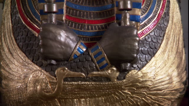 a egyptian sarcophagus depicts a pharaoh holding a crook and flail. - pharaoh stock videos & royalty-free footage