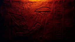 UFO Egyptian Wall Art Lit Up With Fire