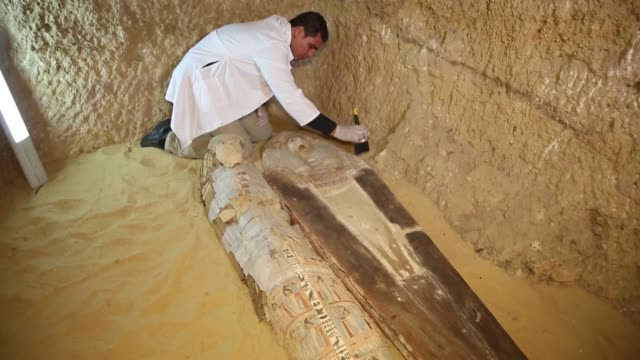 Egypt's antiquities ministry on Saturday unveiled a 4500 year old burial ground near the Giza pyramids containing colourful wooden coffins and...