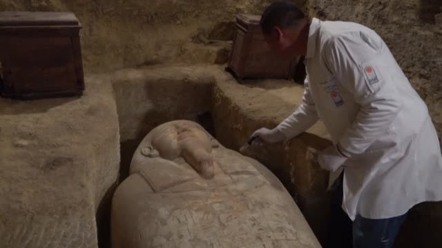 egypt's antiquities ministry unveils the tombs of ancient high priests and a sarcophagus dedicated to the sky god horus at an archaeological site in... - god stock videos & royalty-free footage