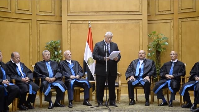 egypts chief justice adly mansour was sworn in as the countrys interim president on thursday a day after the military ousted and detained mohamed... - coup d'état stock videos & royalty-free footage